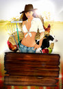 Farm girl poster Royalty Free Stock Photography