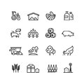 Farm harvest linear vector icons. Agronomy and farming pictograms. Agricultural symbols Royalty Free Stock Photo
