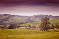 Farm house in australia farmland and rolling hills the outer leongatha district victoria Stock Photos