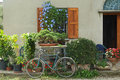 Farm house facade with plants flowers and a bicycle Royalty Free Stock Image