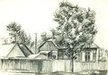 Farm house and a tree pencil drawing Stock Photos