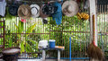 Farm house washing line with hats and fruit Royalty Free Stock Photo