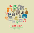 Farm icon set vector color on beige Stock Images