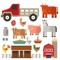 Farm icon vector illustration nature food harvesting grain agriculture different animals characters.