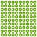 100 farm icons hexagon green