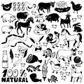 Farm icons image of black of animals and natural products Stock Photos