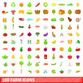 100 farm icons set, cartoon style
