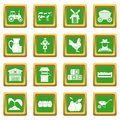 Farm icons set green