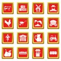 Farm icons set red