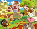 The farm illustration for the kids colorful with animals and playing together Royalty Free Stock Photo