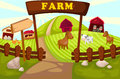 Farm illustration of landscape cartoon Stock Photography