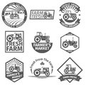 Farm labels with tractor Royalty Free Stock Photo