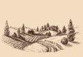Farm landscape etch Royalty Free Stock Photo