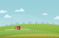 Farm landscape vector illustration of rural background Stock Photos