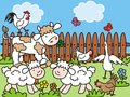 Farm life on the animals in the meadow picture for children Royalty Free Stock Images