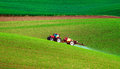 Farm machinery spraying insecticide Royalty Free Stock Photo