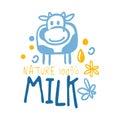 Farm nature milk logo symbol. Colorful hand drawn illustration