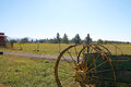 Farm and old farm equipment Royalty Free Stock Photo