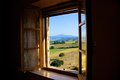 Farm in pienza most beautiful town in val d orcia area province of siena italy looking out the window from one the local Royalty Free Stock Images