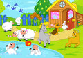 Farm and playing animals. Digital illustration. Royalty Free Stock Photo