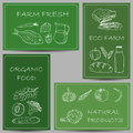 Farm products doodles on banners illustration of chalky green Royalty Free Stock Photos