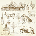 Farm rural houses hand drawn collection Stock Photos