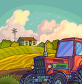 Farm rural landscape with field and tractor. Royalty Free Stock Photo