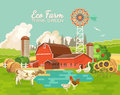 Farm rural landscape with pond. Agriculture vector illustration. Colorful countryside. Poster with retro village and farm. Fl
