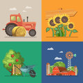 Farm rural landscape with tractor, sunflowers, farm and apple tree. Line. Agriculture vector illustration. Colorful countryside. Royalty Free Stock Photo