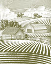 Farm scene landscape woodcut style illustration of a rural Royalty Free Stock Photo