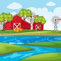 Farm scene with river and barns