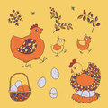 Farm set: chicken, chicks, basket with eggs, nest, twigs with le
