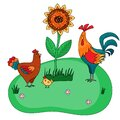 Farm set of hen with rooster and cute chick on green background with sunflower. Vector illustration for kids book