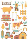 Farm set of related design elements Stock Photo