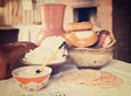 Farm style meal country home made in rural house interior Stock Photos