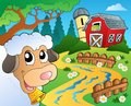 Farm theme with red barn eps vector illustration Stock Photo