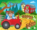 Farm theme with red barn eps vector illustration Stock Image