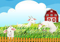 A farm with three goats illustration of Royalty Free Stock Photography