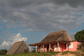 Farm and tobacco drying shed in a cuban countryside landscape Stock Photo