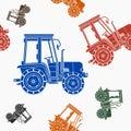 Farm Tractor Seamless Pattern