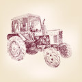 Farm tractor sketch vector illustration hand drawn realistic Stock Photo