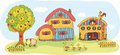 Farm with a two-story house Royalty Free Stock Photo