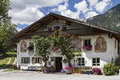 Farm in tyrol traditional with painting leutasch Stock Photography