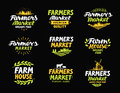 Farm vector logo. Farmers market, farming, agriculture collection icons or symbols