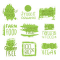Farm Vegan Food Green Set Of Label Royalty Free Stock Photo