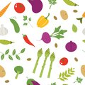 Farm vegetables pattern colorful seamless Stock Photo