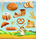 Farm. Wheat and bread. 3d vector set