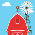 Farm windmill, barn, fence, house Royalty Free Stock Photo