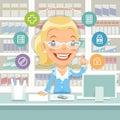 Farmacista woman behind il contatore Immagini Stock Libere da Diritti