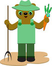 Farmer Bear with Pitchfork and Carrot Royalty Free Stock Image